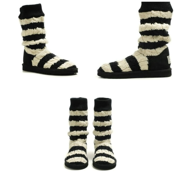 Ugg Stripe Cable Knit Boots Style 5822 SZ 8 bk/wh
